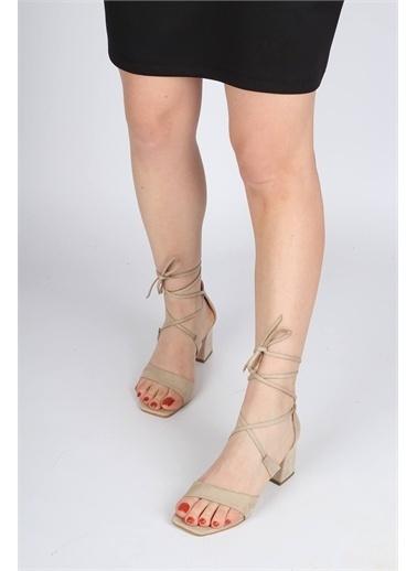 Modabuymus Modabuymus Bilek Bağcıklı  Süet Tek Bant Topuklu Sandalet - Nasha Ten